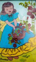 Reverse Glass Painting - Girl With Flower Basket - Enamel Painting