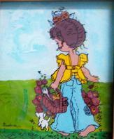 Reverse Glass Painting - Girl With Basket - Black Indian Ink And Pen
