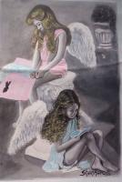 Original Art Work - Two Cute Angels - Colour Indian Ink
