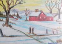 Original Art Work - Snow House - Oil Pastel