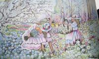 Original Art Work - Girls Picking Flowers In Garden - Water Colour