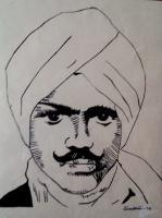 Indian Ink Work - Bharathiyar Famous Tamilnadu Poet - Black Indian Ink And Pen