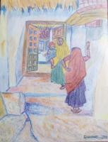 Original Art Work - Our Tamilnadu Village - Oil Pastel