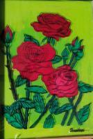 Reverse Glass Painting - Red Roses And Buds - Enamel Painting