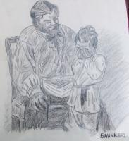 Original Art Work - Grandpa With Grandson - Charcoal Pencil