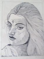 Indian Ink Line Art - Lady Face - Black Pen Line Art