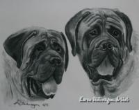 Charcoal Drawings - Porter And Moses - Charcoal