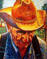 Grandpa And His Farm - Oil On Canvas Paintings - By Ruby Chacon, Portrait Painting Artist