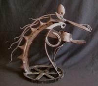 Iron Horse - Steel Sculptures - By Thomas Elfers, Stylizedabstract Sculpture Artist