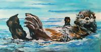 Abstract - Lounging Sea Otter - Acrylic On Canvas