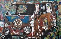 Abstract - 1963 Vw Bus - Acrylic On Canvas