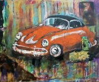 Abstract - Barn Find 1957 Porche 356 Speedster - Acrylic On Canvas