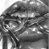 Black And White Pencil Drawing - Lips And Chain - Pencil On Paper