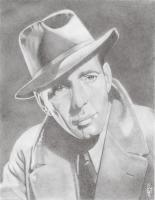 Black And White Pencil Drawing - Bogart - Pencil On Paper