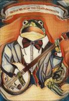 Banjo Frog Delight - Acrylics Paintings - By Wiltse Art, Illustration Painting Artist