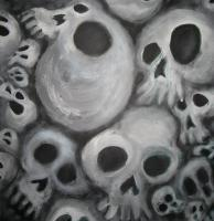 Soft Cluster Of Skulls By Danny Hennesy - Acrylics Paintings - By Danny Hennesy, Sci-Fi  Fantasy Painting Artist