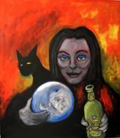 Figurative Art - Witch Teasing Spirit By Danny Hennesy - Acrylics