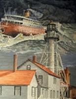 Surrealistic - Edmund Fitzgerald Near Whitefish Pointe - Watercolor