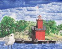 Landscape - Seagull Holland Michigan - Watercolor