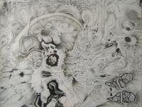 Brainstew - Ink On Paper Drawings - By Nathan Poston, Surreal Drawing Artist