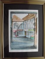Fine Art - Black Lion Mews  Cardigan West Wales - Watercolour