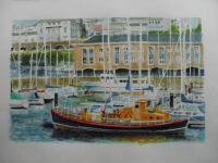 Fine Art - Vintage Life Boat At Milford Haven Marina - Watercolour