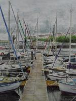 Fine Art - Pontoon Moorings At Milford Haven Marina - Watercolour