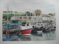 Fine Art - Lobster Boats Moored At Milford Haven Marina - Watercolour