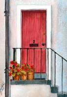 Architectural - The Red Door - Watercolor
