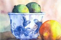 Still Life - Limes And A Lemon - Watercolor