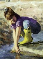 Figurative - The Girl In The Yellow Boots - Watercolor