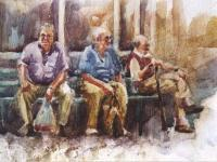 Figurative - Old Men Waiting - Watercolor