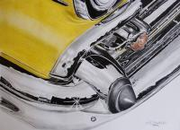 Chevy Bel Air - Mixed Media Drawings - By David Budd, Realism Drawing Artist