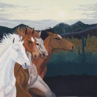 Southwest - Mustang Morning - Acrylic On Canvas