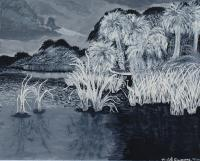 Landscape - Everglades Black  White - Acrylic On Canvas Board