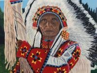 Southwest - Chief Sitting Eagle - Acrylic On Canvas