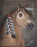 Canvas Paintings - Indian Pony - Acrylic