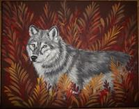 Canvas Paintings - Fall Wolf - Acrylic
