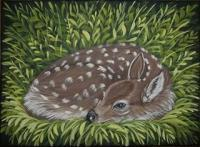 Canvas Paintings - Tired Fawn - Acrylic