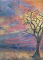 Arboreal Landscape - Pschedelic Sunset Lone Tree - Add New Artwork Medium