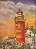 Lighthouses  Buildings - Lighthouse At Sunset - Oils And Acrylics