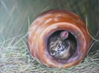 Animals - Rabbit Cozy Home - Oil On Canvas