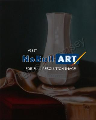 Still Life - White Vase - Oil On Canvas