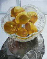 Still Life - Lemons In A Glass Bowl - Oil On Canvas