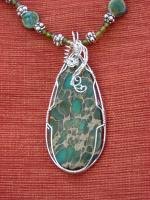 African Jade With Ceramic Beads - Natural And Manmade Stones Jewelry - By Donna Mace, Wire Wrapping Jewelry Artist