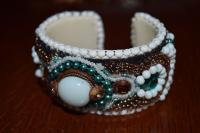 Mother Of Pearl Cuff - Assorted Beads Jewelry - By Donna Mace, Bead Embroidery Jewelry Artist