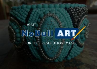 Bead Embroidery - Turquoise Cuff - Assorted Beads