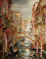 Venice Rainy Day - Oil On Canvas Paintings - By Artemis Artists Association, Impressionism Painting Artist