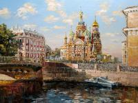 St-Petersburg The View From The Moika River - Oil On Canvas Paintings - By Artemis Artists Association, Impressionism Painting Artist