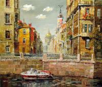Cityscape - St Petersburg View Across Fontanka River - Oil On Canvas